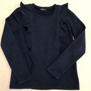 🌴J.Crew Mercantile Ruffle Sweatshirt Navy